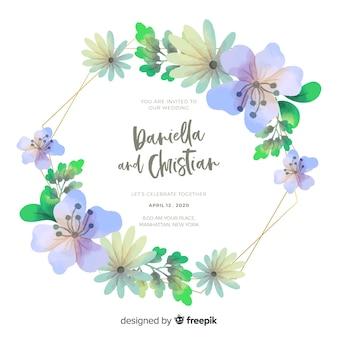 かなり水彩花のフレームの結婚式の招待状
