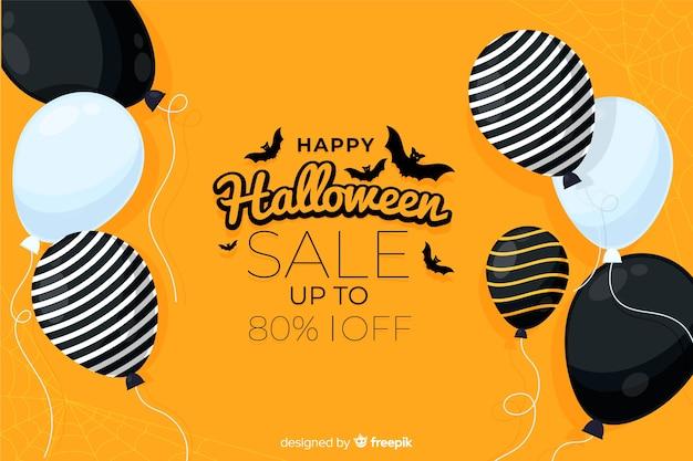 Плоский дизайн хэллоуин продажа с воздушными шарами