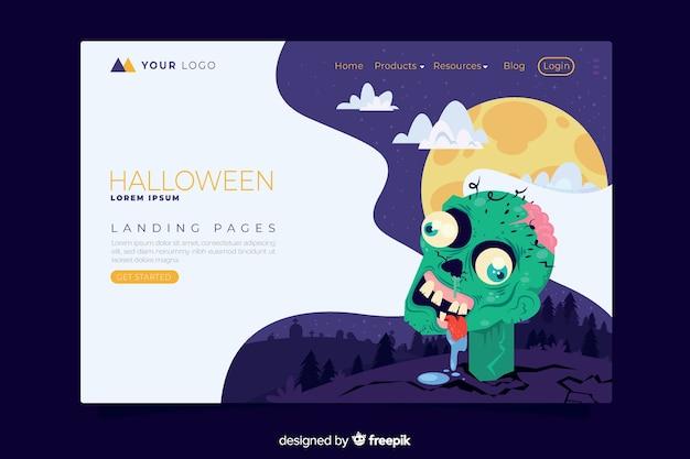 Плоский дизайн шаблона целевой страницы хэллоуин