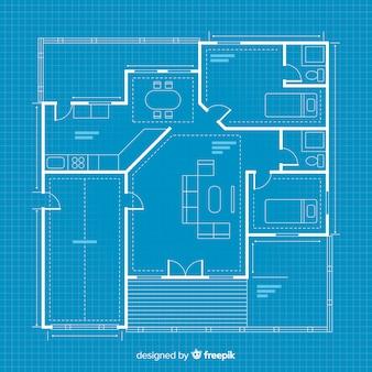 デジタル設計図の家のスケッチ