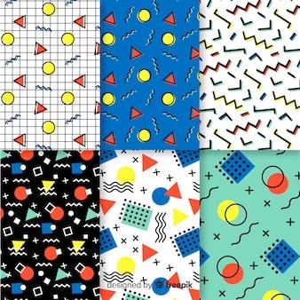 Красочная коллекция шаблонов мемфис