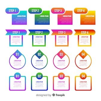 グラデーションインフォグラフィックコレクションデザイン