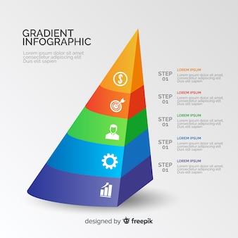 色のピラミッドグラデーションインフォグラフィック