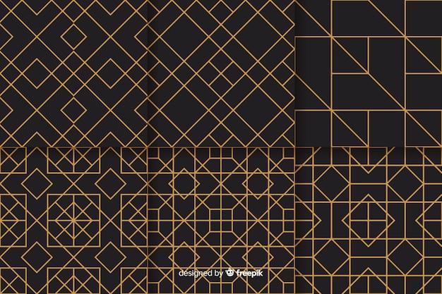 幾何学的な豪華なパターンデザインのセット