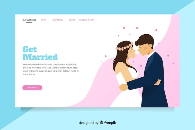 Иллюстрированный жених и невеста на целевой странице свадьбы