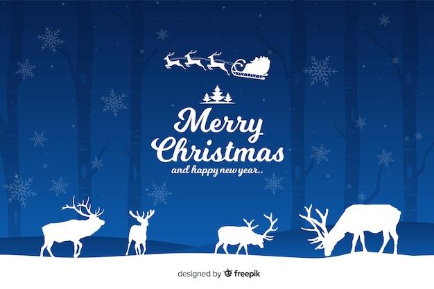Рождественская концепция с плоским фоном дизайна