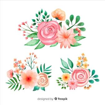 水彩花の花束のコレクション