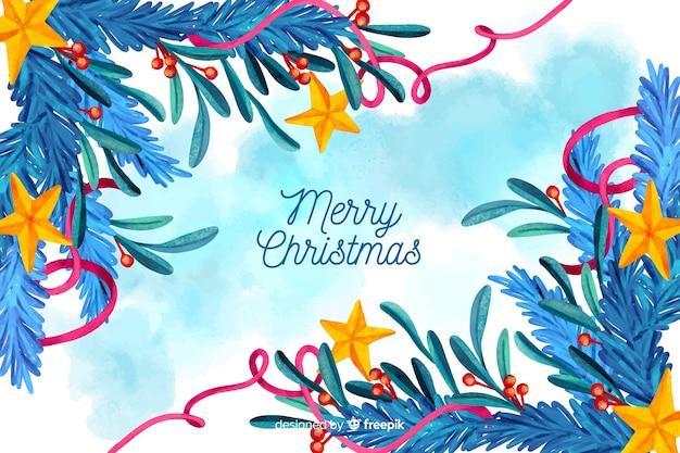 水彩画背景でクリスマスコンセプト