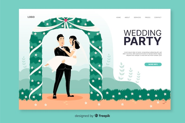Шаблон целевой страницы свадебной вечеринки