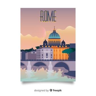 ローマテンプレートのレトロなプロモーションポスター