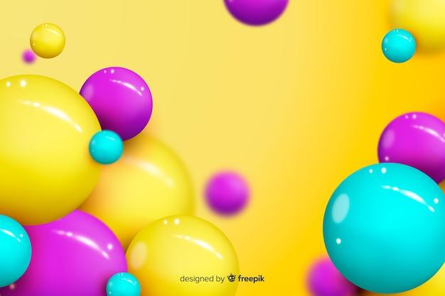 光沢のある流れる球の背景