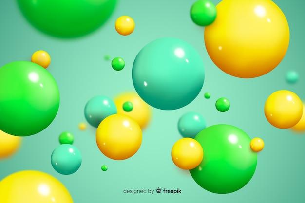 背景の光沢のある流れる球