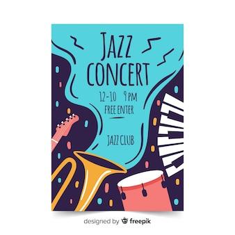 Джазовый абстрактный рисованной плакат шаблон