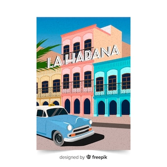 ハバナテンプレートのレトロなプロモーションポスター