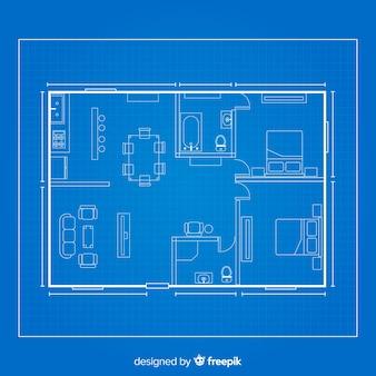 家の建築スケッチの青写真