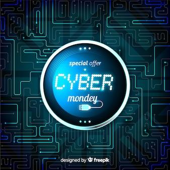 Кибер понедельник концепция с реалистичным фоном