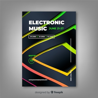 Шаблон электронной музыки абстрактный постер