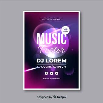 Абстрактный музыкальный плакат с шаблоном светового эффекта