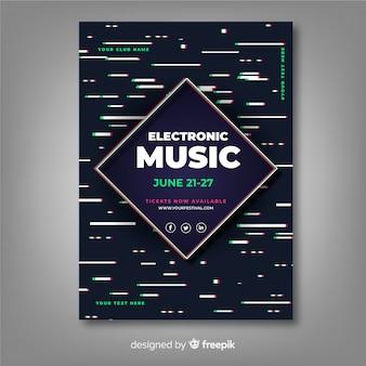 Шаблон электронной музыкальной афиши с эффектом глюка