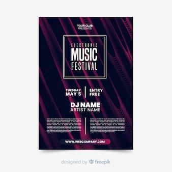 波テンプレートと抽象的な電子音楽ポスター