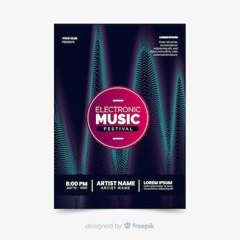 波とテンプレートの抽象的な電子音楽ポスター