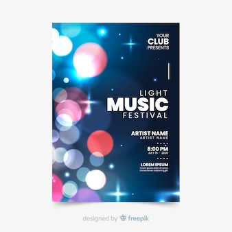 Шаблон абстрактного музыкального постера со световым эффектом