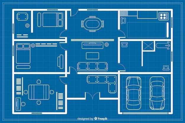 建築の青写真の家のスケッチ