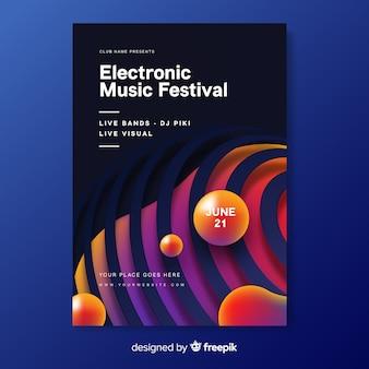 Электронная музыка абстрактный постер шаблон