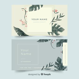 Элегантный цветочный шаблон визитной карточки