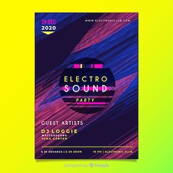 Электронный музыкальный плакат с шаблоном с эффектом сбоя