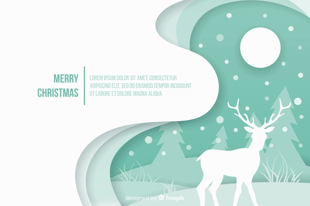 紙スタイルの背景を持つクリスマスコンセプト