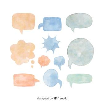 水彩音声バブルコレクションデザイン