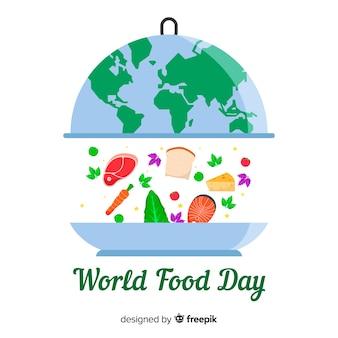 フラットなデザインの背景を持つ世界食糧日コンセプト