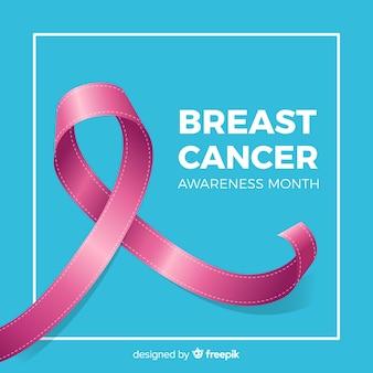 青色の背景に乳がんのピンクリボンシンボル