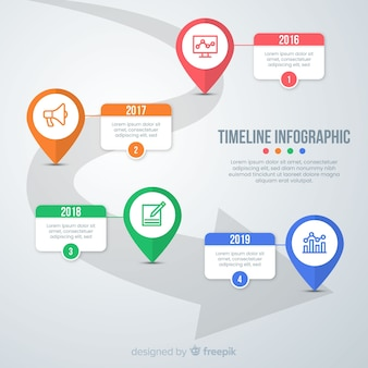 タイムラインプロフェッショナルインフォグラフィック
