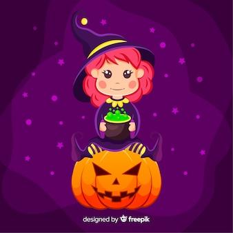 Милая ведьма хэллоуин с тыквой