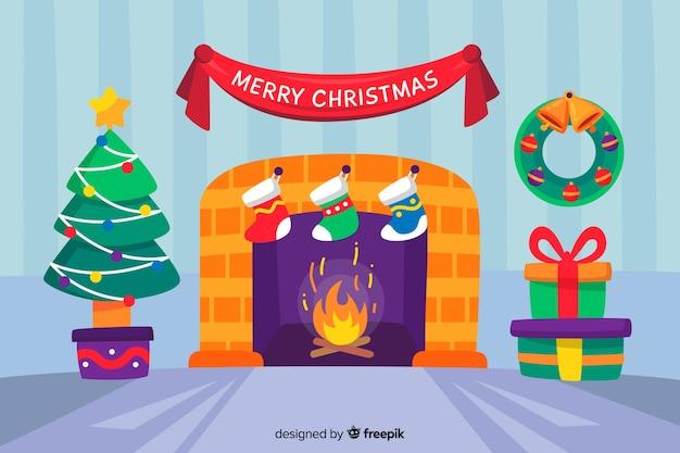 Рождественская концепция в плоском дизайне с дымоходом