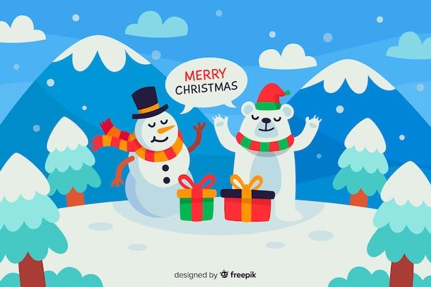雪だるまとフラットなデザインのクリスマスコンセプト