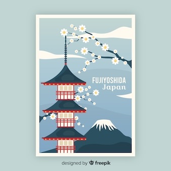 Ретро рекламный плакат шаблон японии