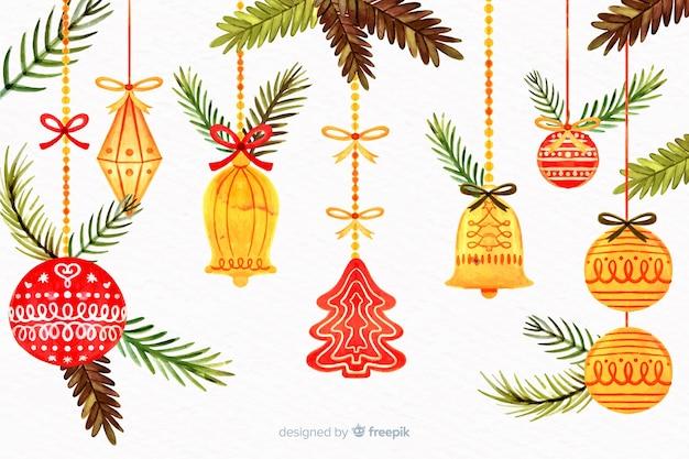 水彩ツリー飾りのクリスマスコンセプト
