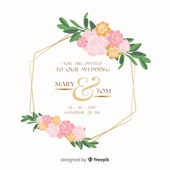 フラットなデザインで花のフレームの結婚式の招待状