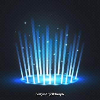 透明な背景に装飾的な青い光ポータル効果