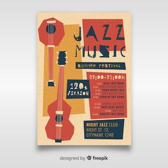 Нарисованный рукой шаблон плаката джазовой музыки