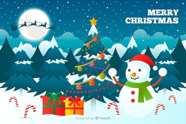 フラットなデザインの背景を持つクリスマスコンセプト