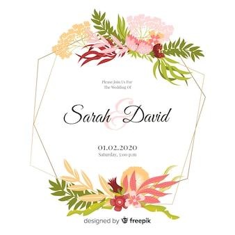 Красивая акварель цветочная рамка свадебное приглашение