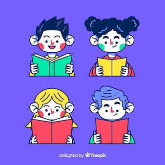 若い人たちが読書とリラックス