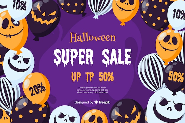 Концепция продажи хэллоуин с плоским дизайн фона