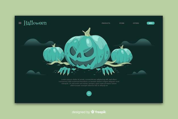 フラットなデザインのハロウィーンのランディングページテンプレート