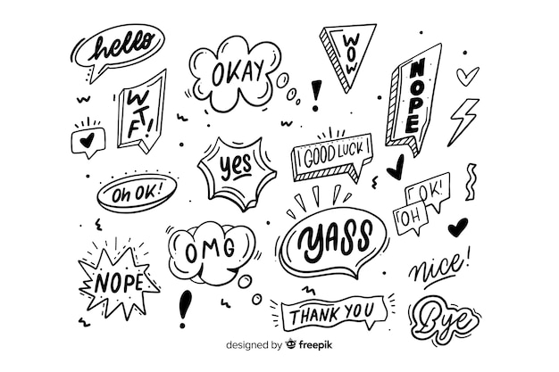 Монохромные пузыри с выражениями