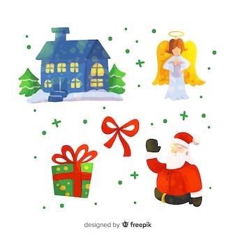 Акварель рождественская коллекция элементов